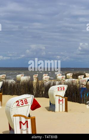 Beach chairs on the beach, Cuxhaven, Lower Saxony, North Sea, Germany, Europe - Stock Photo