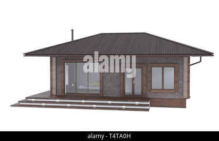 3D render of elegant home on a white background. Residential Real Estate illustration - Stock Photo