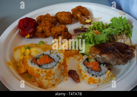 Xoi Ngu Sac - Five colors sticky rice ball with chopped peanut and sesame beetroot celery cumin momordica cochinchinensis flavor Vietnamese food - Stock Photo