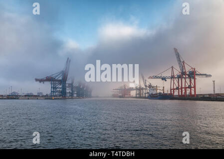 clouds over empty container terminals in the port of hamburg - Stock Photo