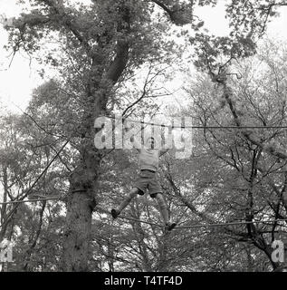 1960s, historical, a boy in his shorts scout standing high-up between two ropes attached to a tree in the forest, using his hands and feet to manoeuvre himself across a clearing, England,  Young people in the scouts take part in many outdoor adventure activities which help to develop their character and life skills. - Stock Photo