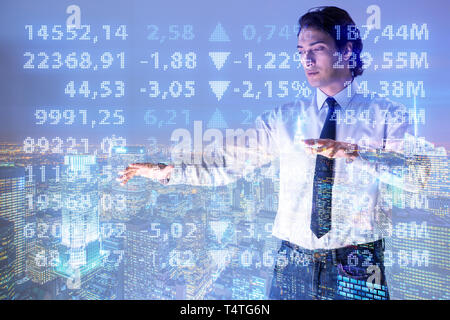 Businessman in stock trading concept - Stock Photo