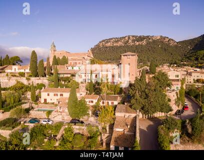Cartuja and palace of King Sancho, Valldemossa, Sierra de Tramuntana, Mallorca, Balearic Islands, spain, europe. - Stock Photo
