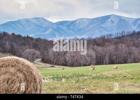 Scenic Appalachian Mountain Blue Ridge Landscape in Winter - Stock Photo