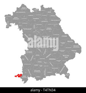 Lindau am Bodensee county red highlighted in map of Bavaria Germany - Stock Photo