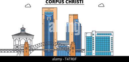 Corpus Christi , United States, outline travel skyline vector illustration.  - Stock Photo