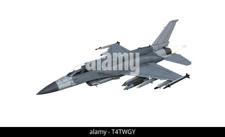 Fighter jet plane in flight, military aircraft, army airplane isolated on white background, 3D rendering - Stock Photo