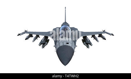 Fighter jet plane in flight, military aircraft, army airplane isolated on white background, front top view, 3D rendering - Stock Photo
