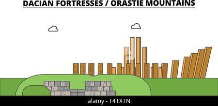 Romania , Dacian Fortresses, Orastie Mountains ,  travel skyline vector illustration.  - Stock Photo
