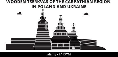 Poland , Wooden Churches In The Carpathian Mountain Area ,  travel skyline vector illustration.  - Stock Photo