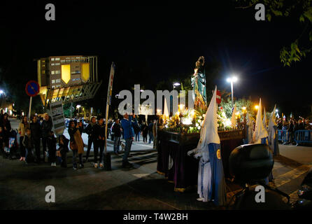 Palma de Mallorca / Spain - April 17 2019: Penitents take part in the procession of Saint christ of Santa Cruz during easter holy week in the Spanish  - Stock Photo