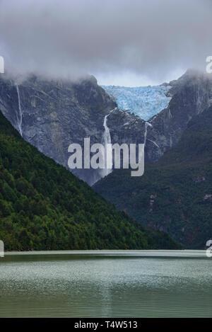 Ventisquero Colgante hanging glacier in Queulat National Park, Patagonia, Aysen, Chile - Stock Photo