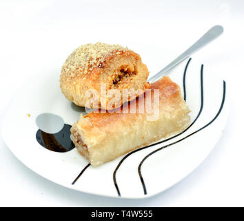 oriental turkish food, sweet baklava and rolled pastry, image - Stock Photo
