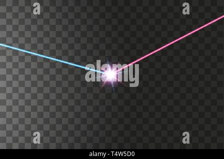 The light of the collision of two forces with red and blue light. An outburst of two stars - Stock Photo