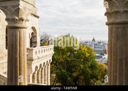 Blond woman on balcony at Fisherman's Bastion - Stock Photo