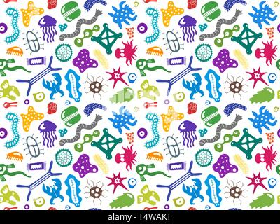 Various microorganisms seamless pattern. Backdrop with infectious germs, protists, microbes, disease causing bacteria, viruses. Biodiversity plankton. - Stock Photo