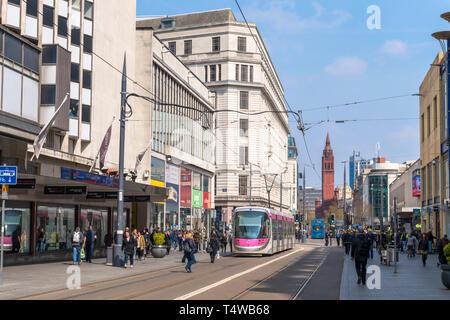 West Midlands Metro tram on Corporation Street in Birmingham, West Midlands, England, UK - Stock Photo