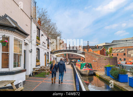 Narrowboat by the Canalside Bar on the canal at Gas Street Basin, Birmingham, West Midlands, England, UK - Stock Photo