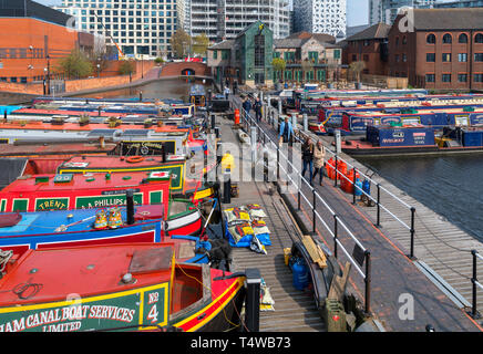 Narrowboats moored at Gas Street Basin on the Worcester and Birmingham Canal in Birmingham, West Midlands, England, UK - Stock Photo