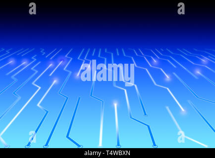 3D illustration Blue High Tech Circuit Board Background with effects - Stock Photo