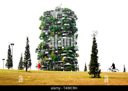 Vertical forest tower in 'Library of Trees Park', Milan, Italy - Stock Photo
