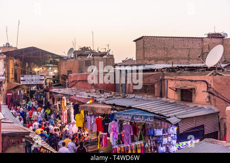 MARRAKECH, MOROCCO, 31 AUGUST 2018: view from above of a crowded market street in Marrakech - Stock Photo