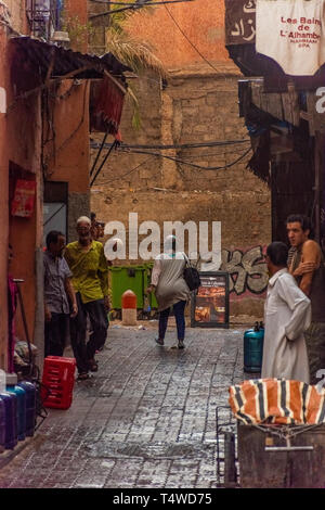 MARRAKECH, MOROCCO, 31 AUGUST 2018: street view of Marrakech - Stock Photo