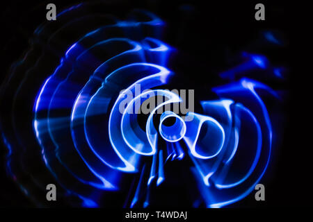 Sound waves in the visible full color in the dark. String theory visualization - Stock Photo