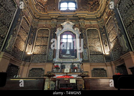 MILAN, LOMBARDIA, ITALY - September 4, 2018: San Bernardino alle Ossa is a church in Milan, known for its ossuary, decorated with human skulls and bon - Stock Photo