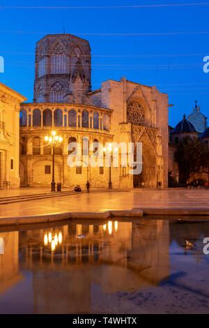 Plaza de la Virgen and Cathedral, Valencia, Comunidad Valenciana, Spain - Stock Photo
