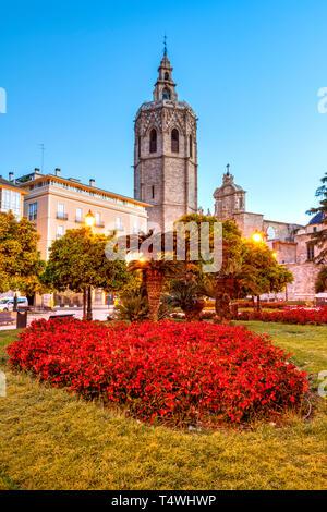 Plaza de la Reina and Micalet bell tower, Valencia, Comunidad Valenciana, Spain - Stock Photo