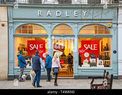 People shopping in the sales at high street fashion retailer Radley handbags shop / store in Cheltenham Gloucester England  UK - Stock Photo