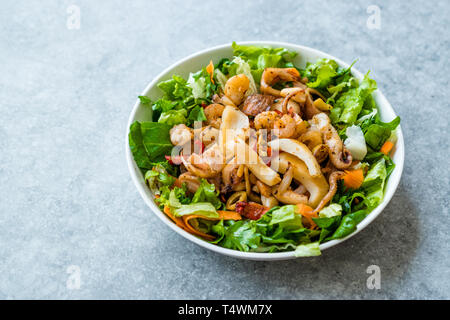 Mix of Seafood Salad with Calamari, Shrimp and Octopus. Organic Food. - Stock Photo