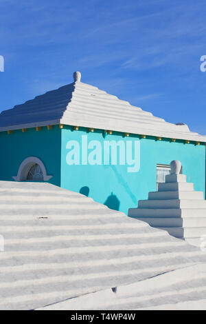Bermuda, traditional white stone roofs on colourful Bermuda houses - Stock Photo
