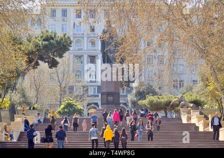 19 April,2019.Baku.Azerbaijan.People on the spring park and boulevards in Baku - Stock Photo