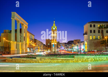 Jaffa Clock Tower at Yefet street near Tel Aviv - Stock Photo