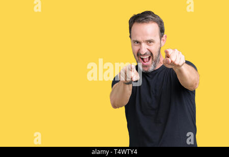 Handsome middle age hoary senior man over isolated background Pointing to you and the camera with fingers, smiling positive and cheerful