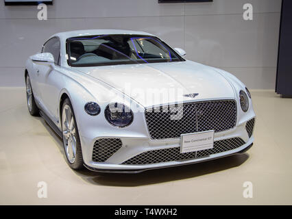 Nonthaburi, Thailand - April 3, 2019: Bentley Continental GT luxury car presented in Motor Show 2019 - Stock Photo
