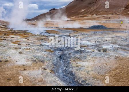Namaskard geothermal area called Hverarond near Reykjahlid town, Iceland - Stock Photo