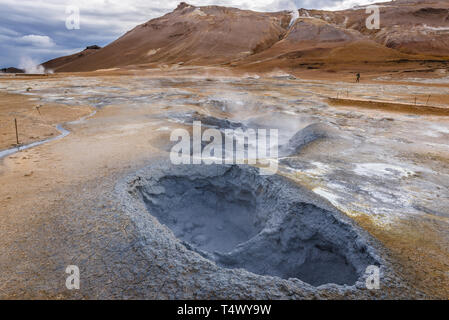 Boiling mud area also called Hverir or Hverarond near Reykjahlid town in the north of Iceland - Stock Photo