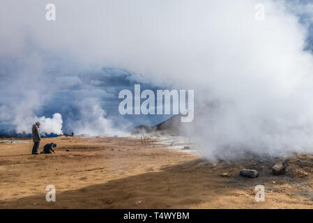 Namaskard geothermal area also called Hverarond near Reykjahlid town in the north of Iceland - Stock Photo