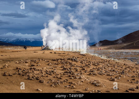 Hverir boiling mud area also called Hverarond near Reykjahlid town in the north of Iceland - Stock Photo