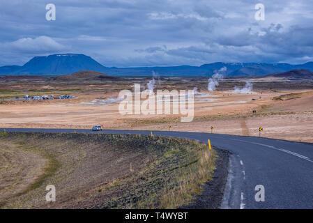 Namaskard geothermal area called Hverarond near Reykjahlid town, Iceland, seen from Namafjall mountain pass - Stock Photo