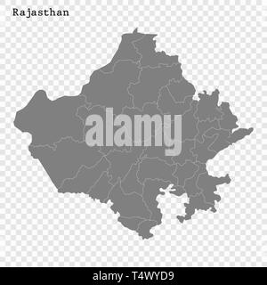 High Quality map of Rajasthan is a state of India, with borders of the districts - Stock Photo