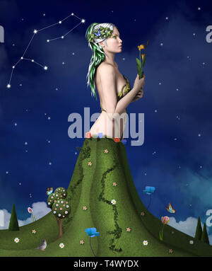 Zodiac series – Virgo as a woman arising from a green surreal field - Stock Photo