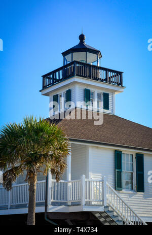 A cropped view of the  historical Port Boca Grande Lighthouse and Museum building, built in 1890 in Boca Grande, FL on Gasparilla Island - Stock Photo