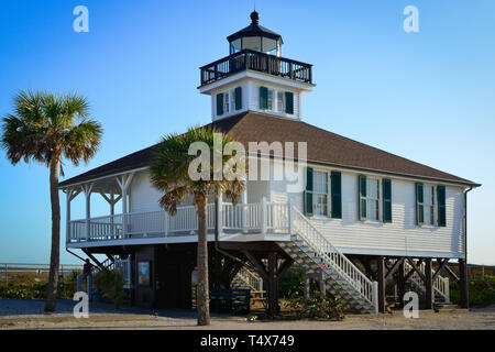 The  historical Port Boca Grande Lighthouse and Museum building, built in 1890 in Boca Grande, FL on Gasparilla Island - Stock Photo