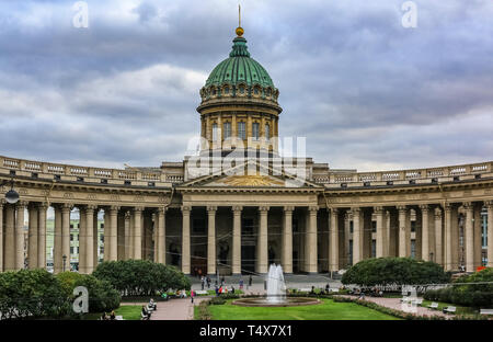 Saint Petersburg, Russia - October 05, 2015: Exterior of Kazan Cathedral, on St. Petersburg's Nevsky Prospekt, distinguished by sweeping arc-shaped co - Stock Photo