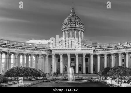 Saint Petersburg, Russia - October 04, 2015: Exterior of Kazan Cathedral, on St. Petersburg's Nevsky Prospekt, distinguished by sweeping arc-shaped co - Stock Photo