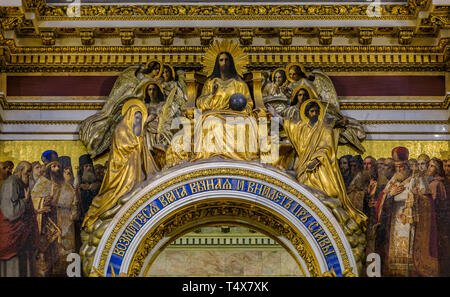 Saint Petersburg, Russia - September 10, 2017: Golden relief of Jesus Christ and saints in Saint Isaac's Cathedral with Psalm 23 quote Lift up your ga - Stock Photo